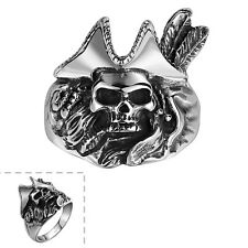 Men's 316L Stainless Steel Silver Pirates Skull Vintage Gothic Jewelry Punk Ring