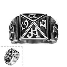 Men's 316 Stainless Steel Geometry Letter Pattern Gothic Jewelry Retro Punk Ring