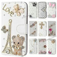 New 3D Diamond Crystal Bling Leather Wallet Case Flip Cover for Varous iphone