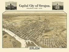 Historic Map of Salem Oregon 1905 Marion County