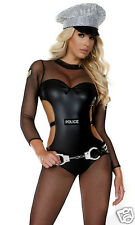 Forplay Sexy Opulent Officer Cop Police Fishnet Catsuit Uniform Costume