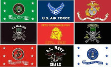 MILITARY FLAGS 3X 5FT SERVED WITH PRIDE, NAVY SEAL, RANGER, DEVIL DOGS