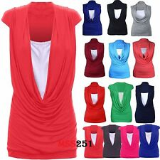Ladies Womens Cowl Neck Contrast Insert Long Vest T-Shirt Top (8/10 to 24/26)