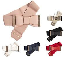 WOMENS LADIES LEATHER RETRO ELASTIC WRAP BOW CLASP CORSET CINCH WAIST WIDE BELT