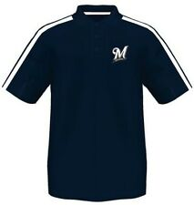 Milwaukee Brewers Majestic Synthetic Arm Polo Shirt Navy Men's Big & Tall Sizes