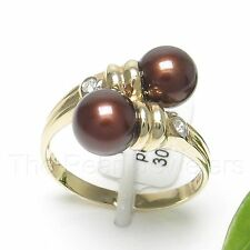 14k Solid Yellow Gold Two AAA Chocolate Cultured Pearl & Diamond Cocktail Ring