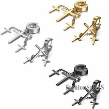 Stainless Steel Dangle Cross Men's Women's Unisex Punk Hoop Huggies Earrings New