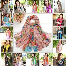 Fashion Women Girls Long Cotton Voile Floral Shawl Scarf Wrap Stole