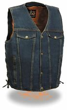 Men's BLUE Classic Snap Front Denim Vest with V-Neck Collar & Gun Pocket