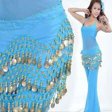 Dancing Costume 3 Row Coin Chain Belly Dance Hip Skirt Scarf Wrap Belt Waistband