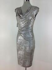 Vince Camuto NWT Exquisite Silver metalic Velvet Shwal Collar Dress