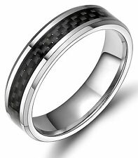 6mm Black Carbon Fiber Inlay Tungsten Carbide Ring Wedding Band Men's Jewelry