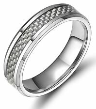 6mm Tungsten Carbon Fiber Ring Engagement Wedding Band Men's Jewelry Silver Gift
