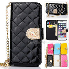Gold Metal Chain Glossy Quilted Faux Leather Lady Handbag Wallet Case For iPhone