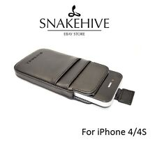SNAKEHIVE® Leather Pouch Case Cover for Apple iPhone 4/4s