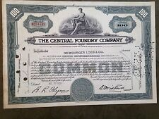 Central Foundry Company stock certificate - 100 shares, dated 1955, #NC64443