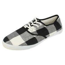 Mens A2049 black/white/grey checked canvas shoes by SPOT ON Retail £5.99