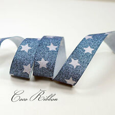 "5/10/25 yds 7/8"" 22mm Blue Denim Star Jeans Grosgrain Ribbon"