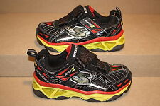 BOYS SKECHERS SUPER Z BLACK/YELLOW S-LIGHTS SHOES -  SEE LISTING FOR SIZES (675)