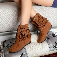 Retro Womens Cute Faux Suede Fringe Tassel Moccasin Shoes Lace up Ankle Boots