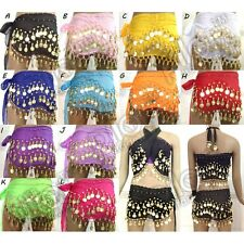 3 Rows Belly Dance Skirt Scarf Hip Wrap Belt Gold Silver Coins Low Price