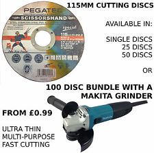 THIN CUTTING SLITTING DISCS 115MM - WITH MAKITA GRINDER BUNDLE WITH 100 DISCS