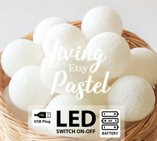 20 PLAIN COLOR COTTON BALL LED BATTERY OPERATED STRING LIGHTS - BEDROOM, WEDDING