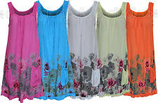 Women's Summer 2015 Beach Floral Cotton Sleeveless Tunic Shift Mini Dress 12 18