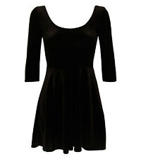 Amelia 3/4 Sleeve Velvet Skater Dress in Black