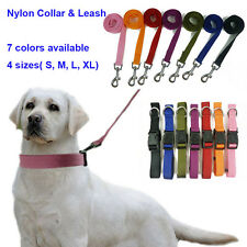 Pet Dog Nylon Collar & Leash in 1 Adjustable 7 Plain Colors for All Dog S M L XL