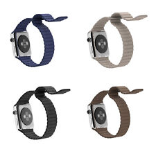 Genuine Leather Magnetic Buckle Loop Watch Band Strap For Apple Watch 38/42mm