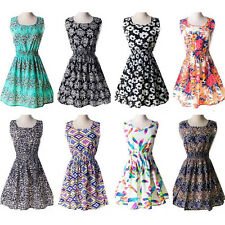 Woman's Summer Bohenmia Sleeveless Chiffon Floral Casual Mini Dress Plus Size