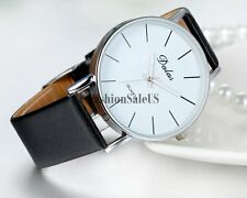 Men's Women's Simple Face Analog Dial Quartz Dress Wrist Watch Leather Band New