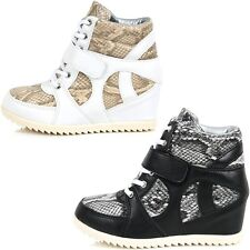 Brand New Velcro Casual Shoes For Women Wedge Heels Lace Up Fashion Sneakers