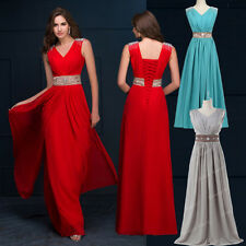 RED Long Prom Gowns Wedding Bridesmaid Formal Party Evening Ball Dress Size 6-20