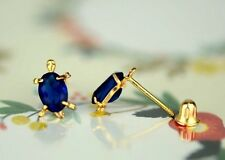14k Yellow Gold Turtle Birthstone Stud Earring