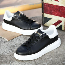 Fashion Women Leather High Platform Lace Up Sneakers Oxfords Casual Flat Shoes