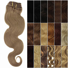 M02 120g Full Head New Fashion Clip in 100% Remy Body Wave Human Hair Extensions