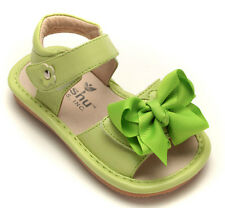 MOOSHU Trainers Squeeker Shoes NEW Lime Green Sandal Add A Bow Sz 3-8