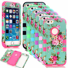 Peony Flower Pattern Heavy Duty Shockproof Combo Matte Case For iPhone 6 6S Plus