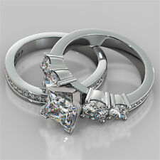 3.47Ct Princess Cut Engagement Ring & Matching Band Available in 14K White Gold