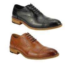 Mens Real Leather Black Tan Classic Oxford Lace up Smart Shoes Brogue Punch Hole