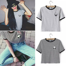 Street Solid / Striped Embroidery ET Aliens Casual Short Sleeve Tee T-shirt Tops
