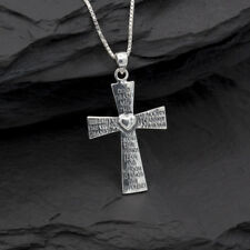Sterling Silver Serenity Prayer Cross Pendant or Necklace 925 with Gift Box