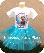 Frozen Elsa Birthday Party Outfit Personalized T-shirt Tutu AGES 1-10  GIRLS