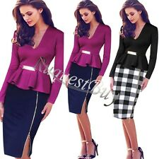 Womens Elegant Peplum Colorblock Summer Business Casual Party Sheath Slim Dress