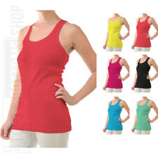 Womens Tank Top 100% Cotton Ribbed Racer Back A-Shirt Basic Workout Yoga S M L