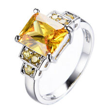 CZ Champagne Topaz Women's Jewelry 10KT White Gold Filled Wedding Ring Size 6-10
