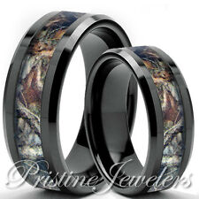 Titanium Brown Oak Real Forest Camo Ring Men Women 8mm Mossy Tree Wedding Bands