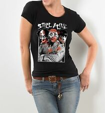 LICENSED STILL ALIVE ZOMBIE THREE STOOGES SLIM FITTED WOMEN'S T-SHIRT BLACK